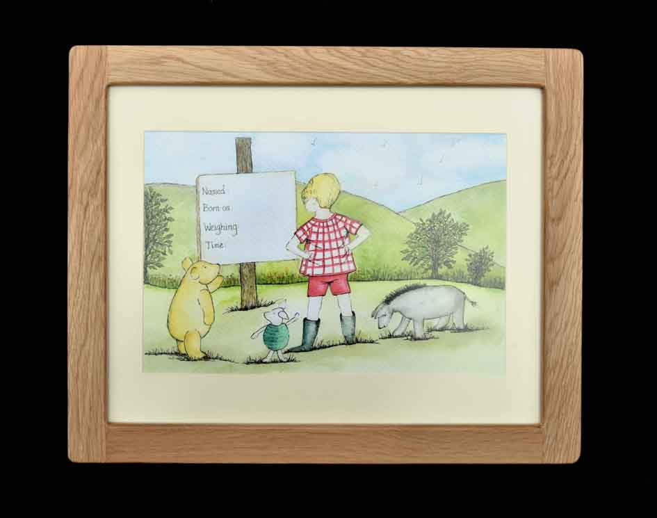 Christopher Robin and Friends - Oak Framed Print