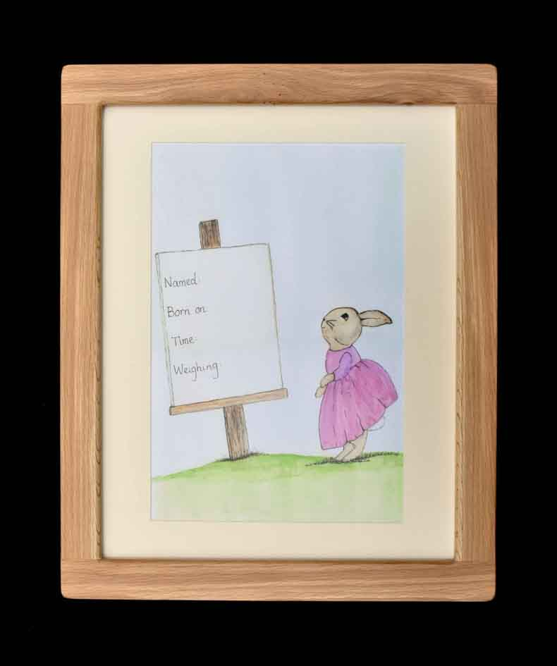 Rebecca Rabbit - Oak Framed Print