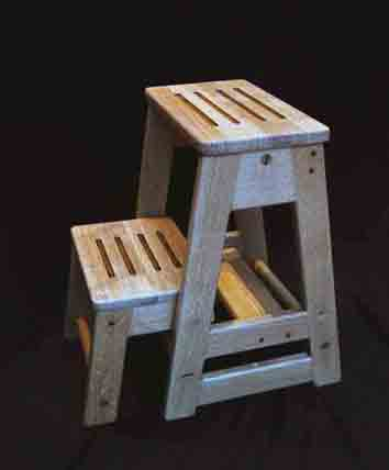 Oak Library Stool - Click Image to Close