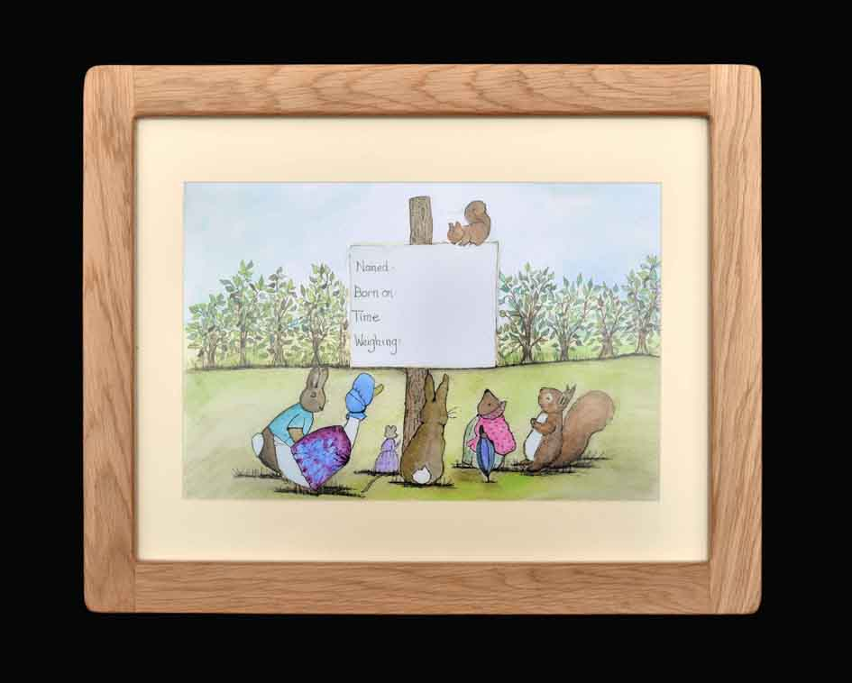 Woodland Friends - Oak Framed Print